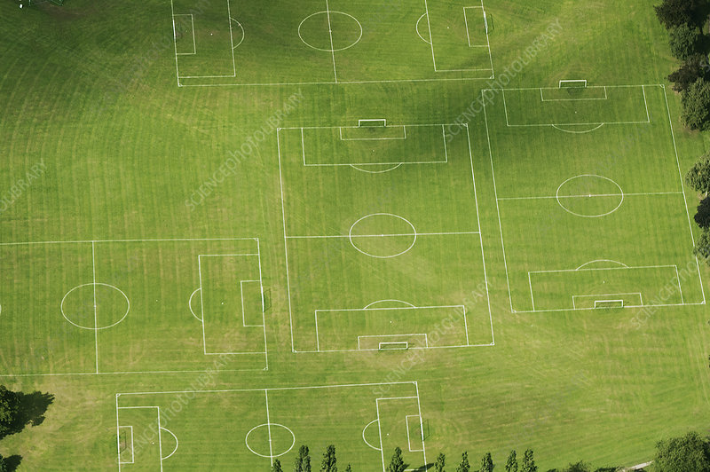 Aerial view of soccer pitches in field