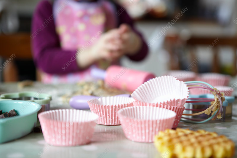 Close up of cupcake wrappers in kitchen