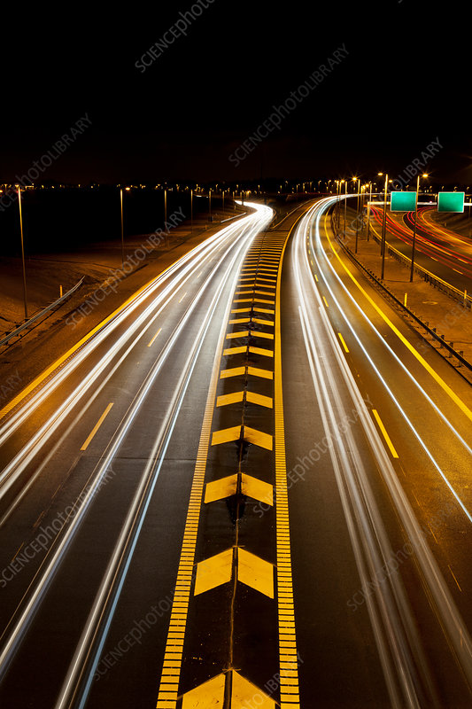 Time Lapse View Of Traffic On Highway Stock Image F005 2796 Science Photo Library