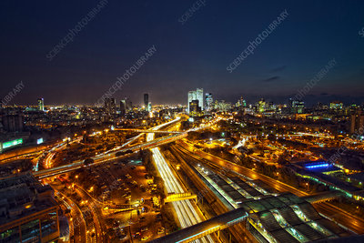 Aerial view of Tel Aviv lit up at night