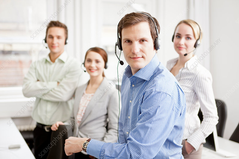 Business people working in headsets
