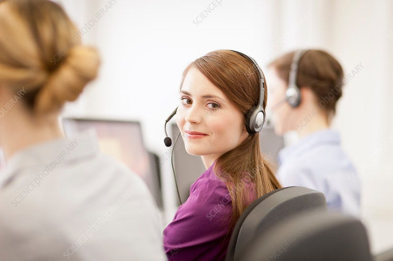 Businesswomen working in headsets