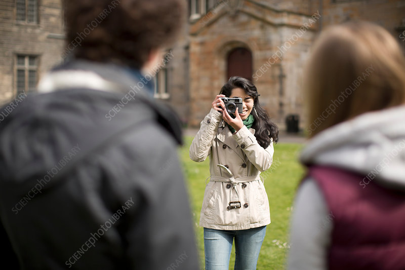 Student taking picture of friends