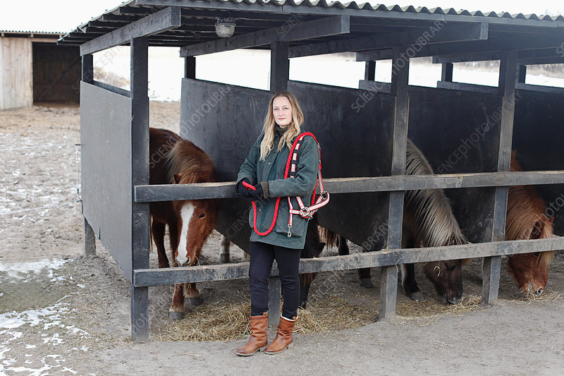 Woman tending to horses in stables