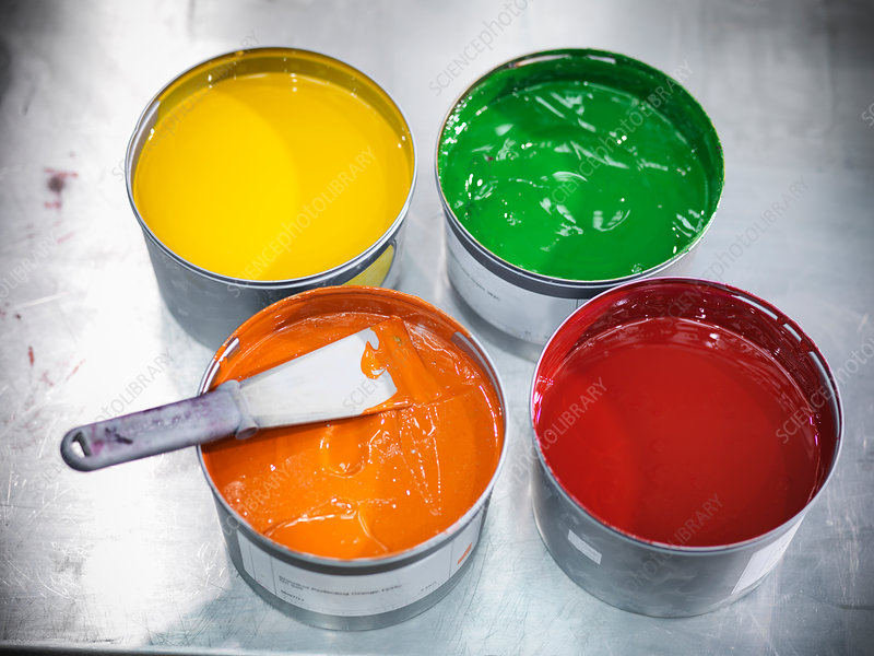 Buckets of colorful printing ink