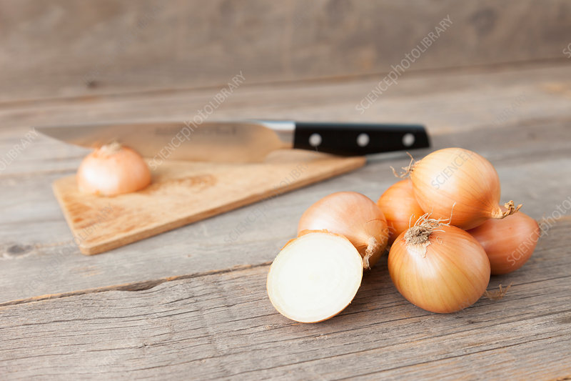 Close up of onions and knife on table