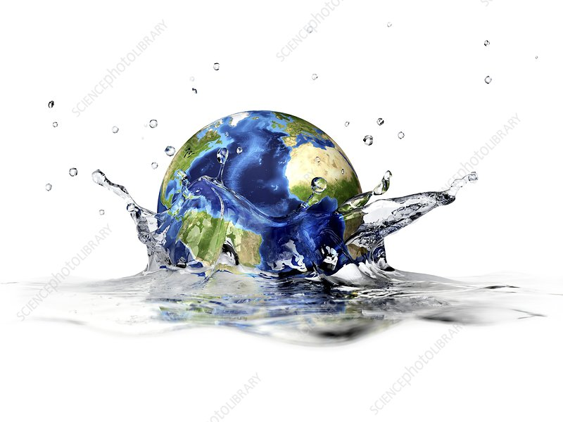 Earth falling into water, artwork