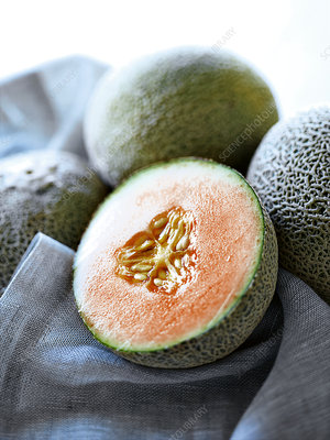 Close up of halved melon