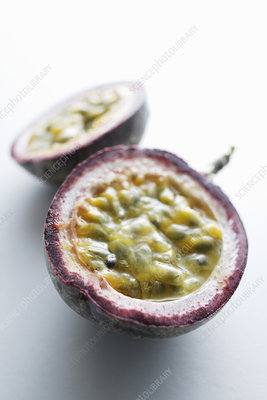 Close up of sliced passion fruit