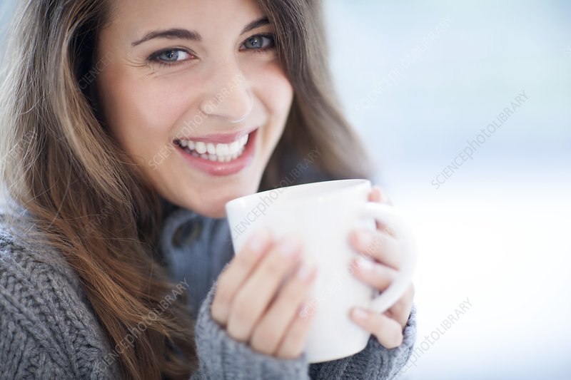 Woman with hot drink