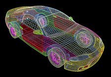 Computer-aided design of a car
