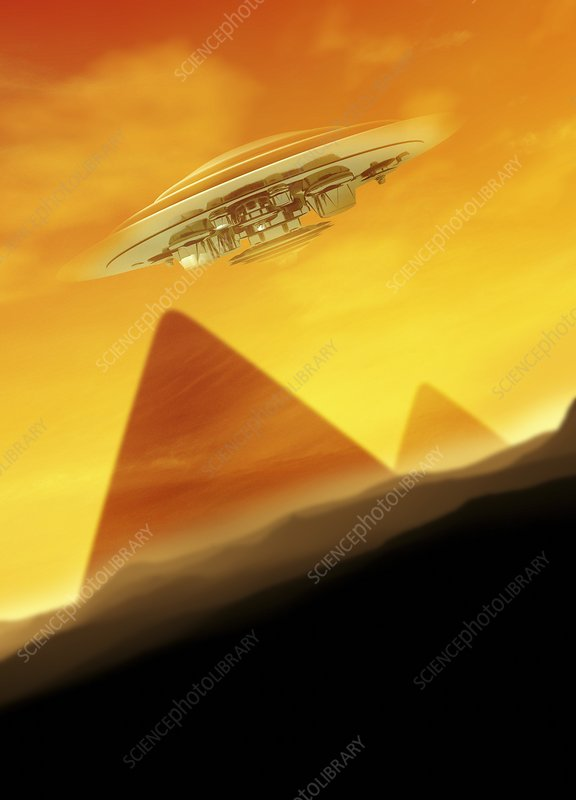 UFO over the pyramids, artwork