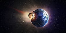 Asteroid impacting Earth, artwork