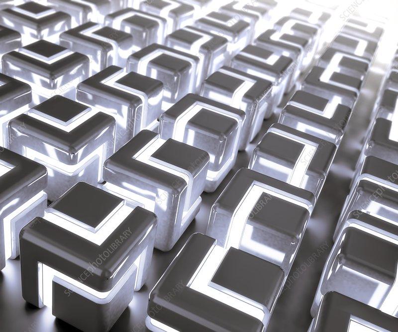 Glowing cubes, artwork