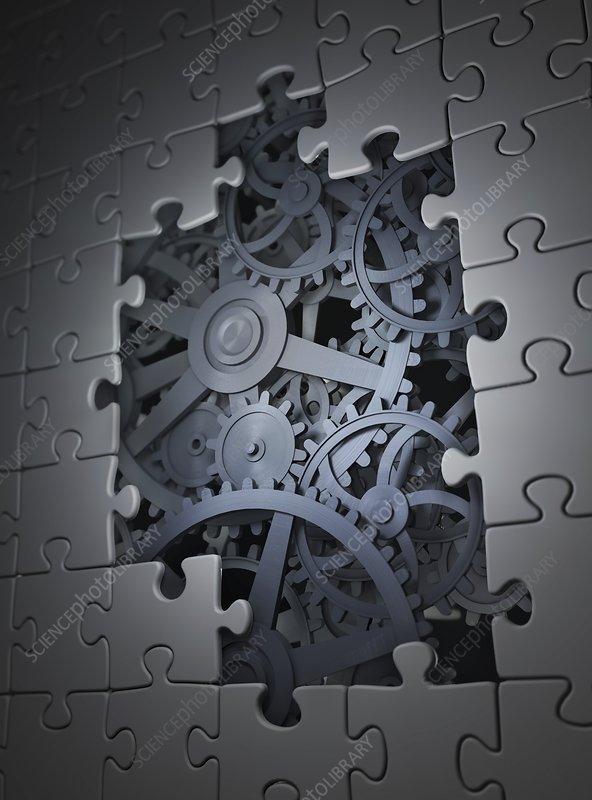 Mechanical puzzle, conceptual artwork