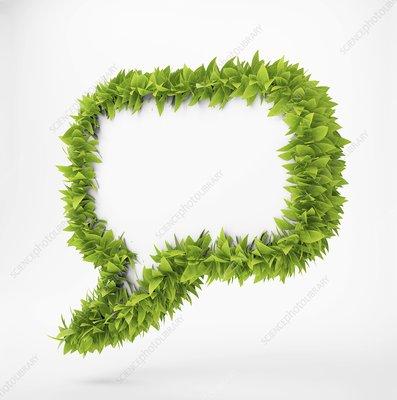 Leafy speech bubble, artwork