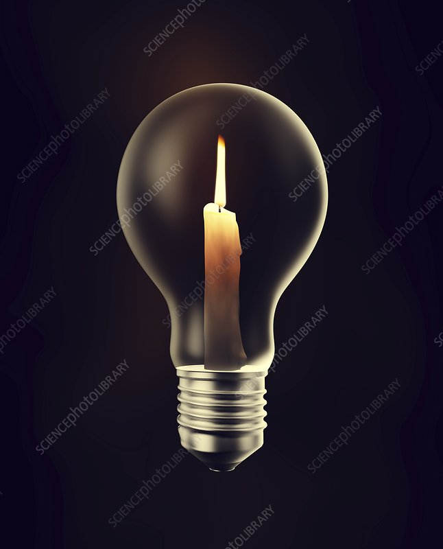 Candle in a light bulb, artwork