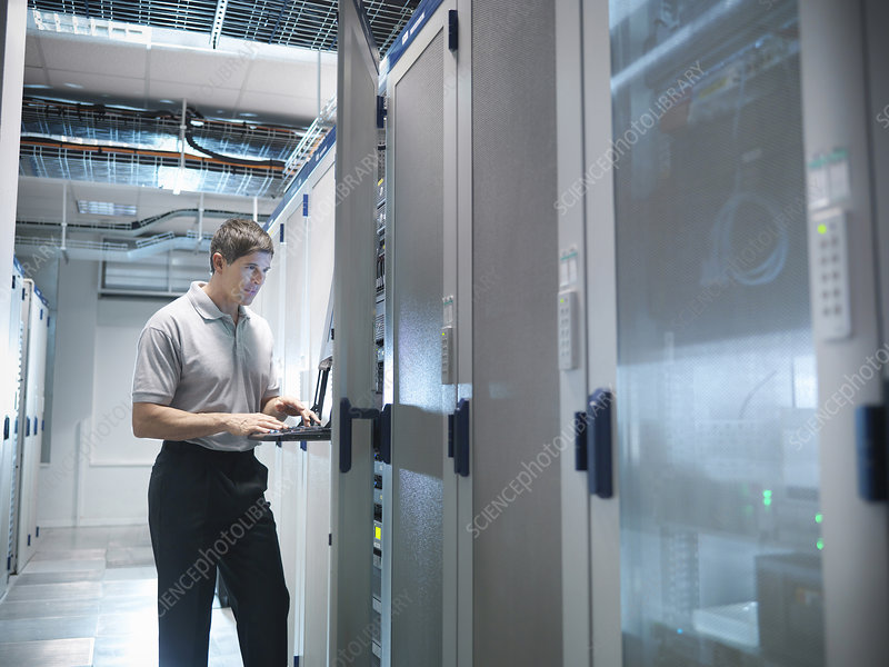 Man working in server room
