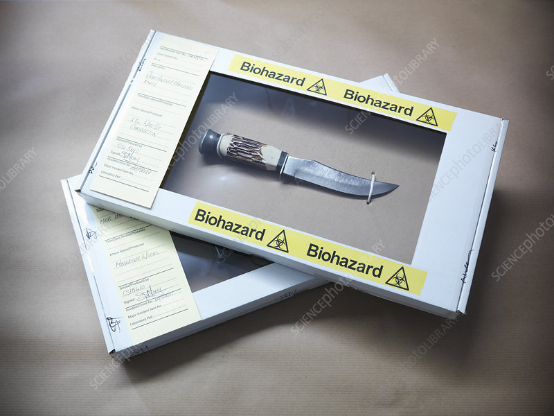 Knife in forensic biohazard box