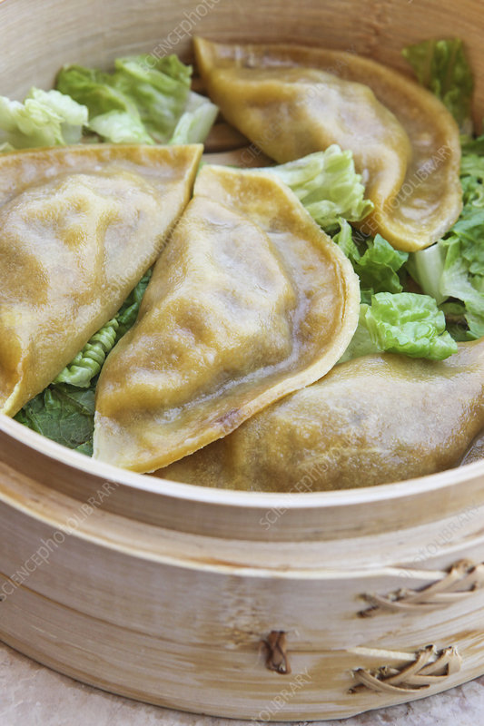 Close up of dumplings in steamer