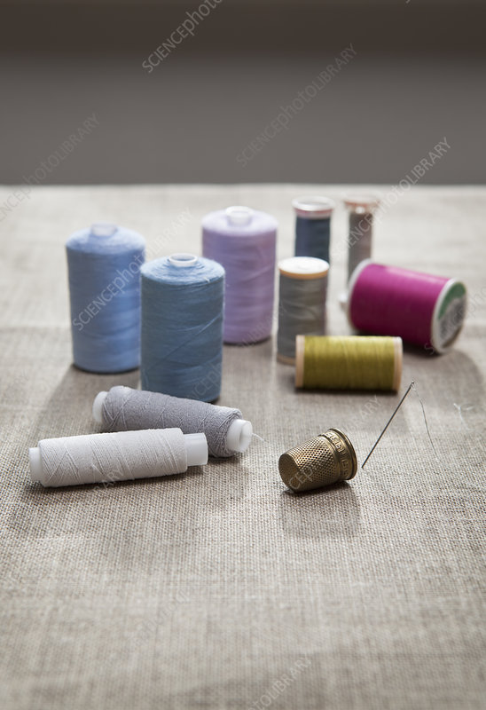 Thread, sewing needle and thimble