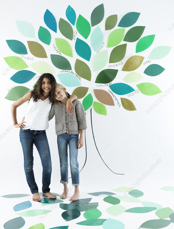 Girls standing under tree on wall