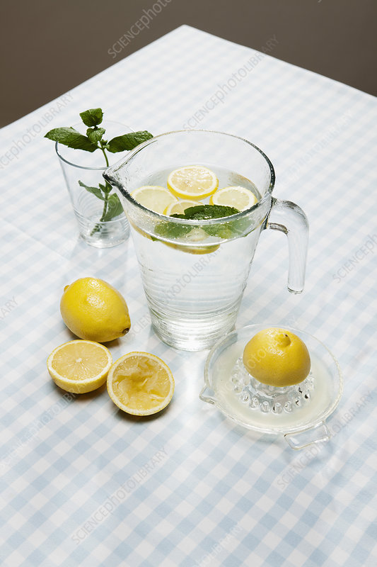 Lemons, herbs and pitcher of water