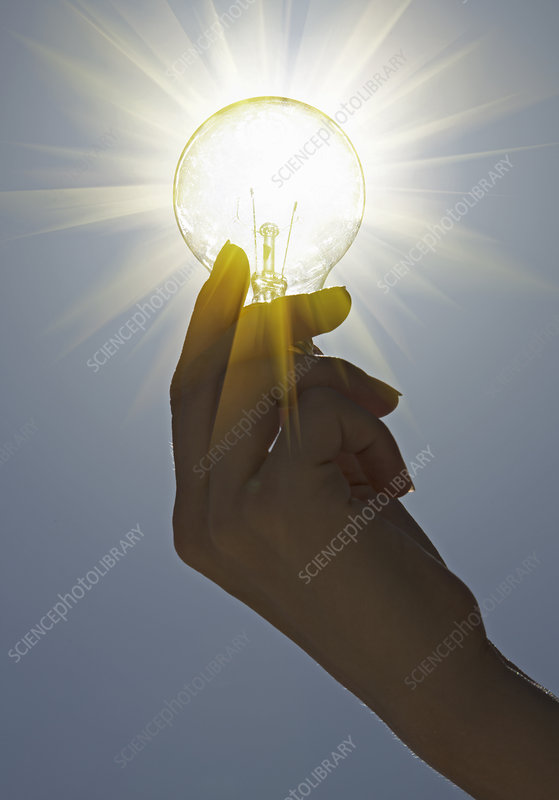 Close up of hand holding light bulb