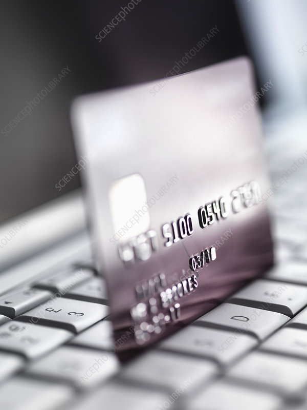 Close up of credit card on keyboard