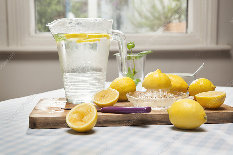 Lemons, juicer and pitcher of water