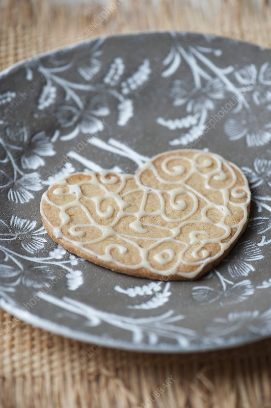 Close up of decorated cookie on plate