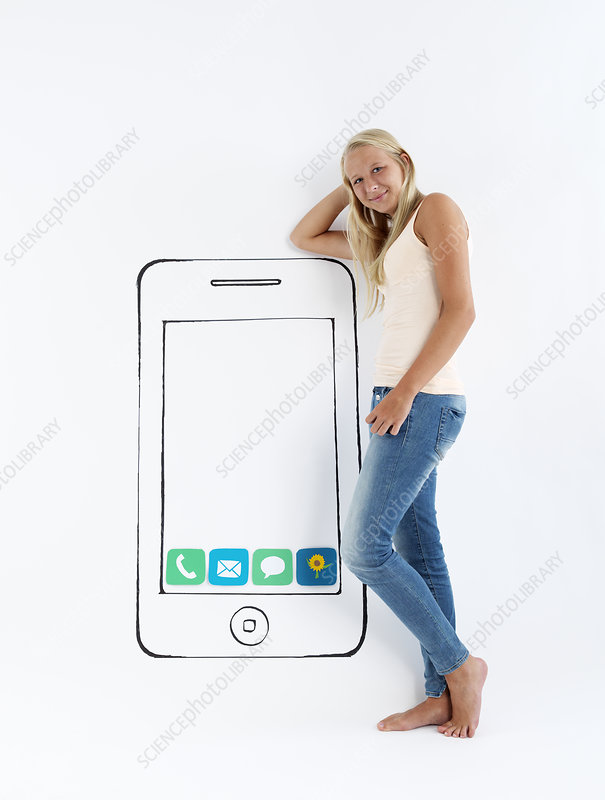 Girl standing by drawing of smartphone