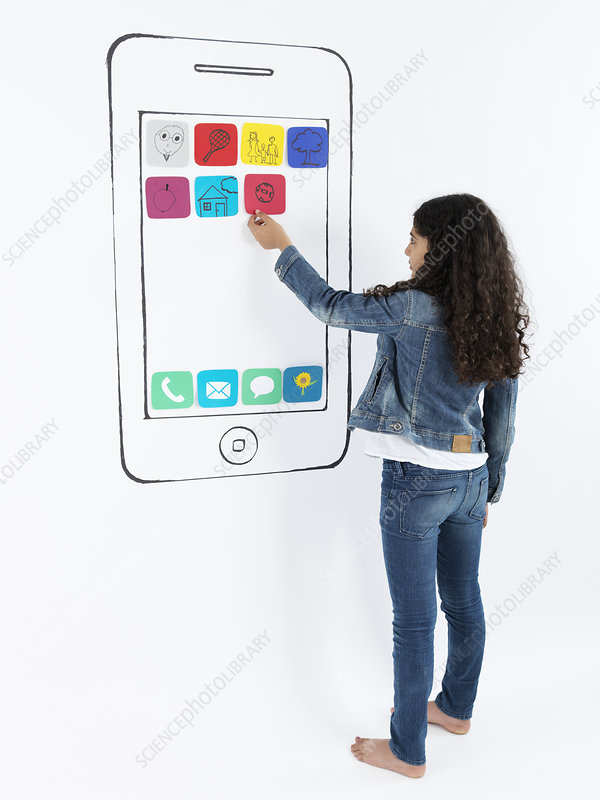 Girl playing with drawing of smartphone