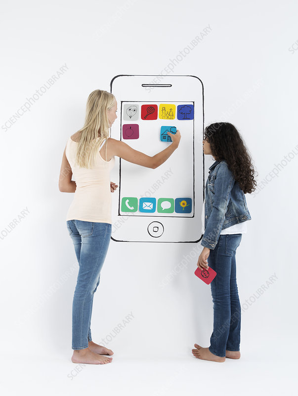 Girls playing with drawing of smartphone