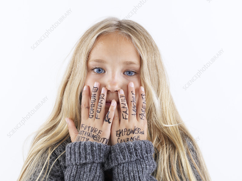 Girl covering face with writing on hands