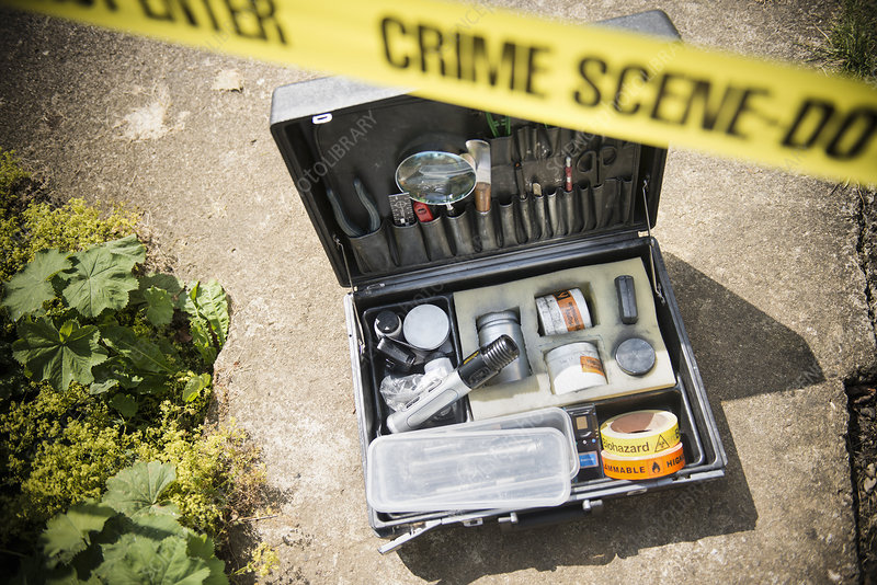 Box of forensic equipment at crime scene