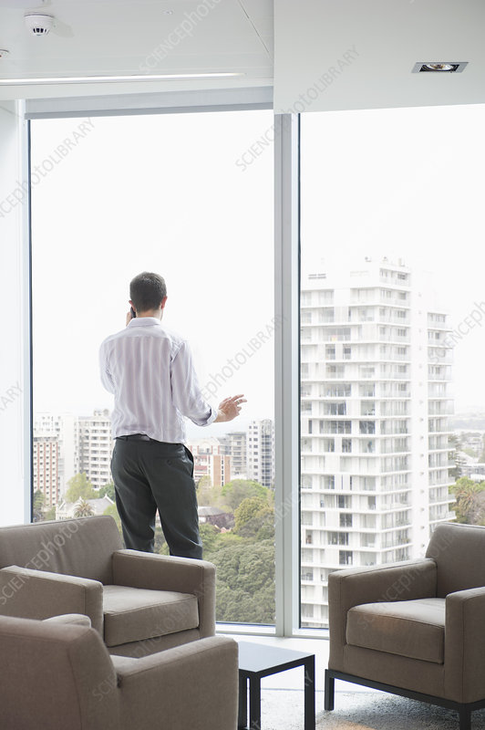 Businessman on phone at office window