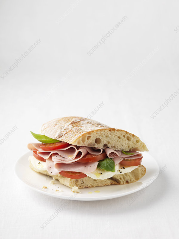 Ham, tomato and cheese sandwich
