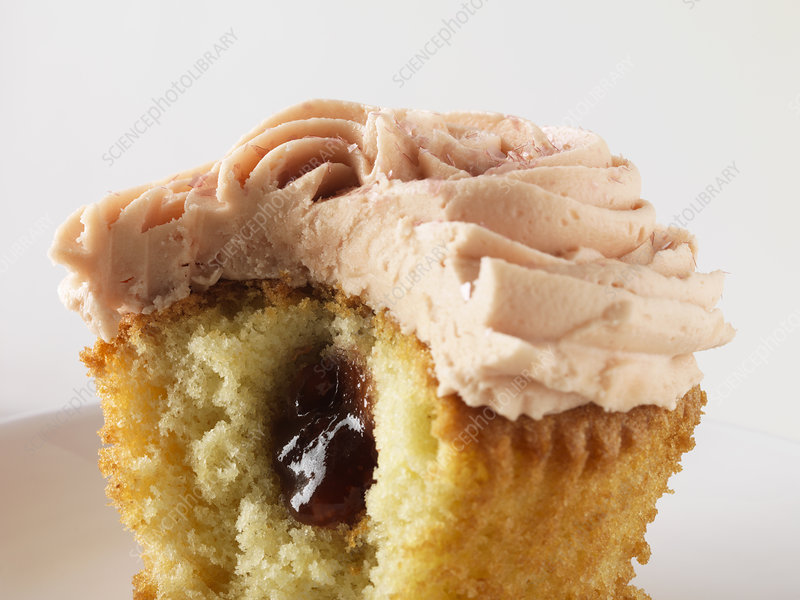 Close up of filled cupcake
