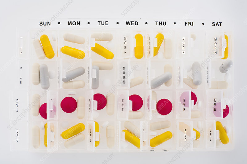 Portions of pills in organizer