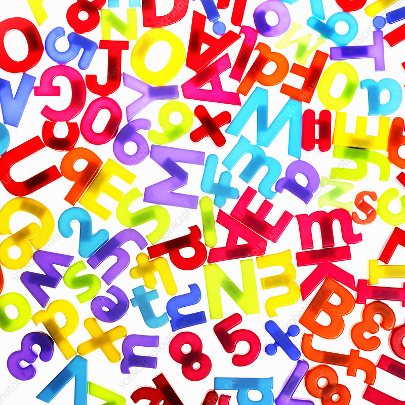 Colourful plastic letters and numbers