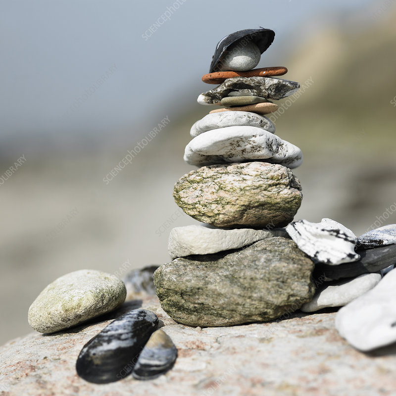 Close up of stack of rocks and shells