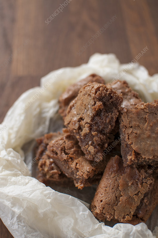 Chocolate brownies in wax paper