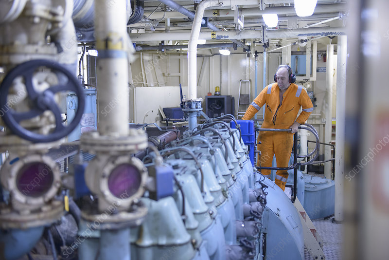 Engineer standing in engine room