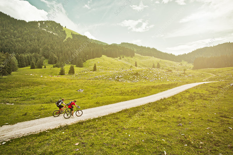 Couple riding bicycles on rural road