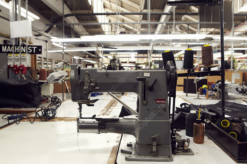 Sewing machine in clothing factory