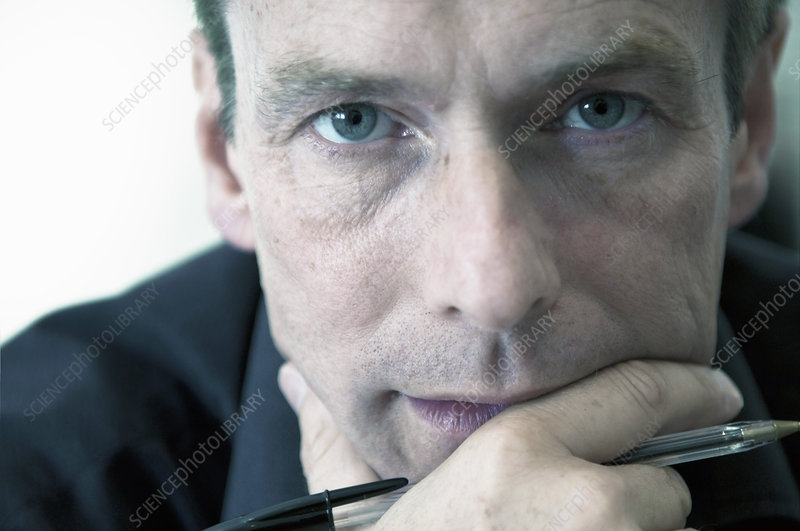 Close up of businessman's serious face