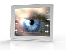 Tablet computer with biometric eye scan
