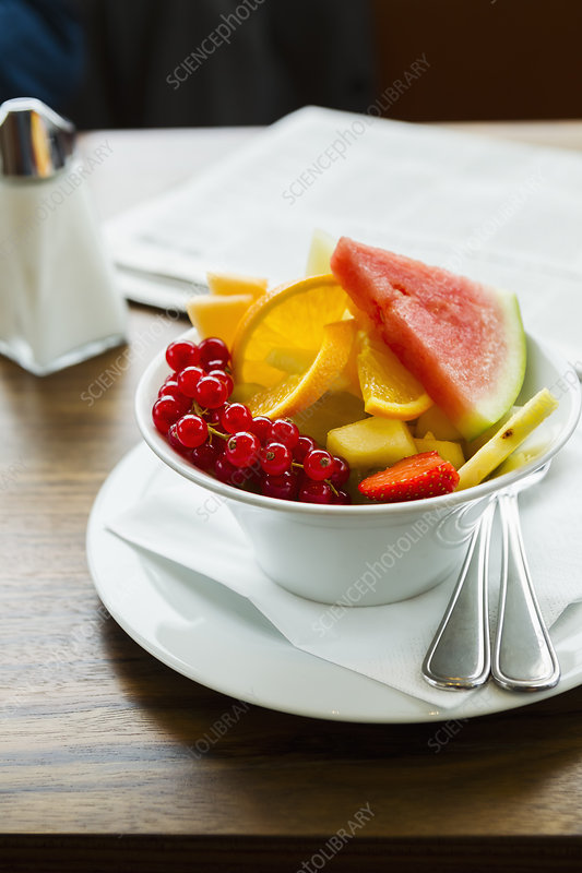 Bowl of fruit on table