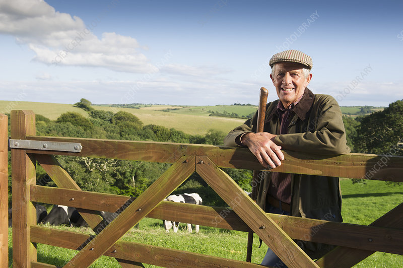 Older man leaning on wooden fence